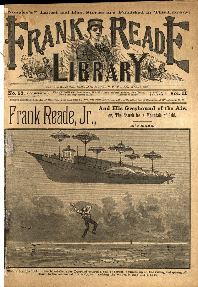 Frank Reade Library, Vol II, No. 52, September 16, 1893, Frank Reade Jr. And His Greyhound Of The Air, Dime Novel, Ephemera