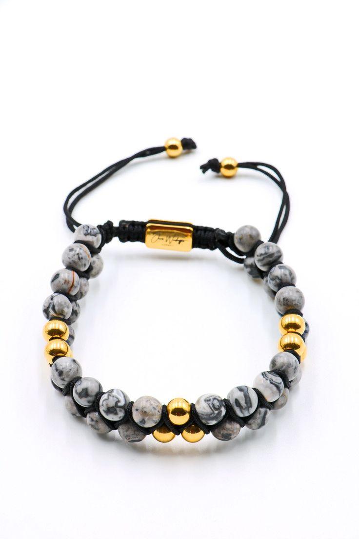 Grey Jasper Double Beaded Bracelet 6mm