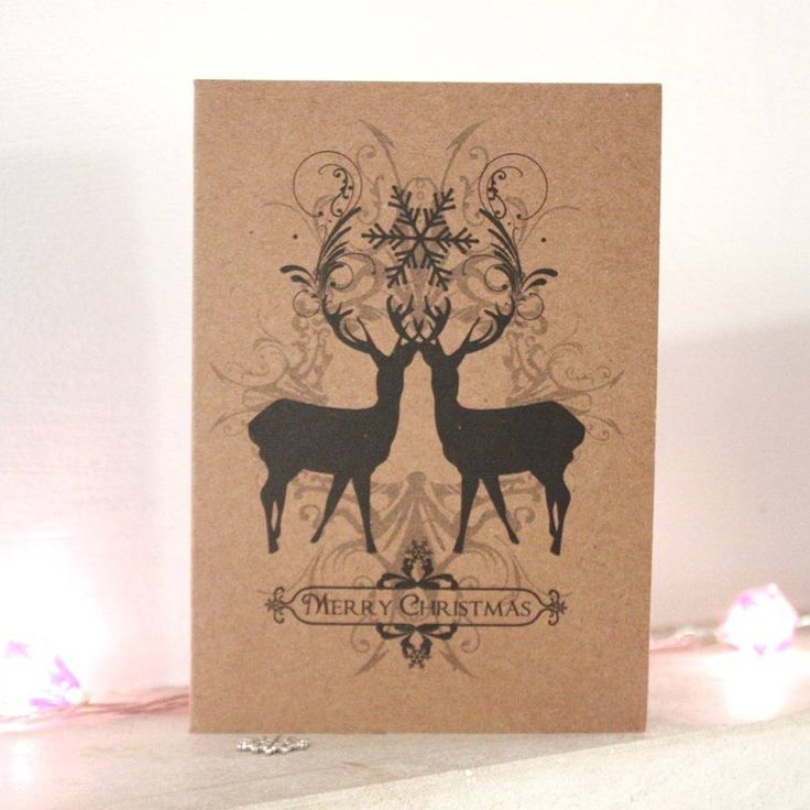 risograph print deer design christmas cards pack of five by hullaballoo | notonthehighstreet.com