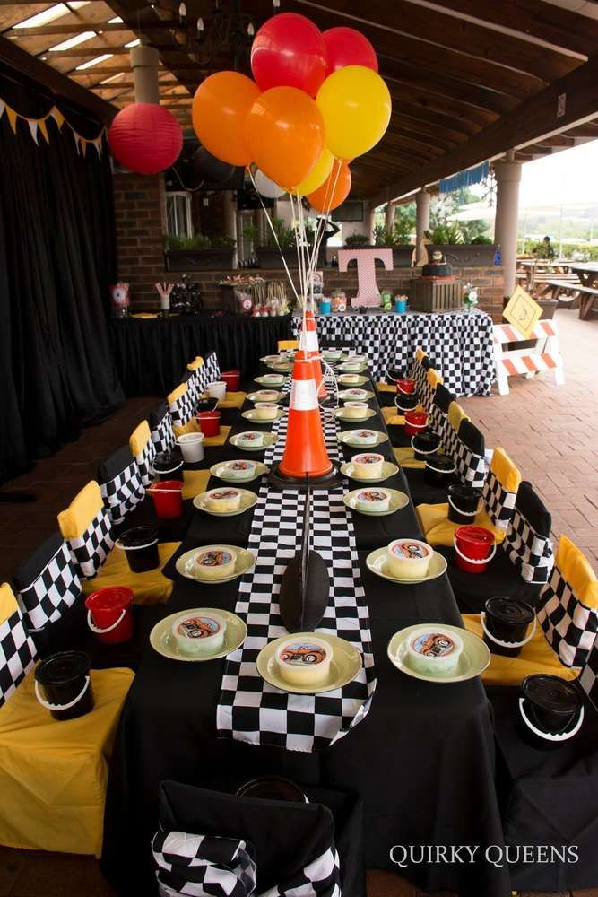 Party table at a monster truck party birthday party! See more party ideas at CatchMyParty.com!