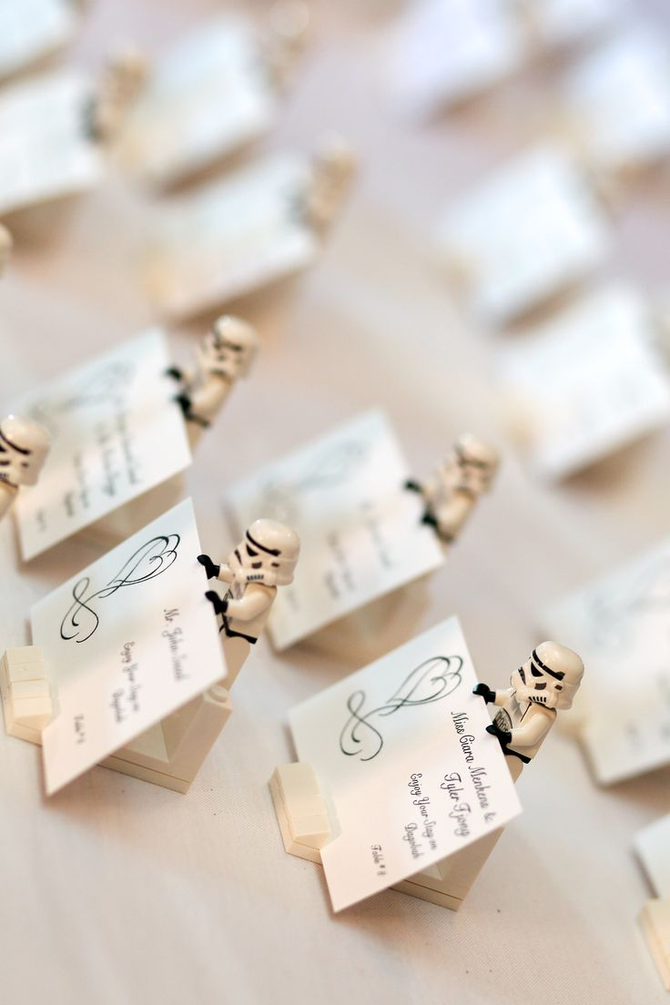 Table Card Holder Ideas unique wedding escort place card ideas 1 Our Place Card Holders Made From Lego Stormtroopers Miscellaneous Lego Pieces For A Base And