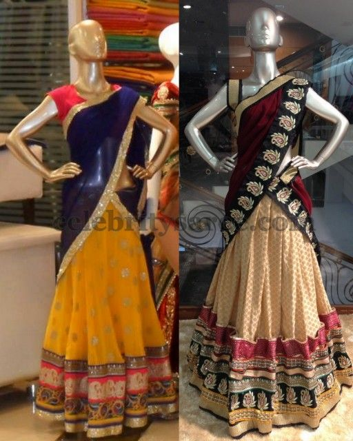 Kashish Work Half Sarees | Saree Blouse Patterns
