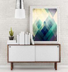 mod, mod afgedrukt, minimalistische kunst, minimalistische print, geometrische kunst, geometrische print, abstract geometrische, driehoeken kunst, kunst aan de muur driehoek