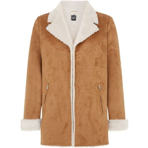 New Look Teens Tan Faux Shearling Lined Longline Jacket (£21) ❤ liked on Polyvore featuring outerwear, jackets, camel, long jacket, beige jacket, longline jacket, collar jacket and long sleeve jacket