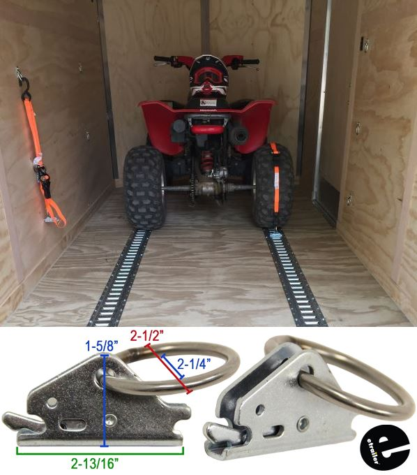 4 E Track Tie Down Plates for Enclosed Trailer Cargo Van Quad Motorcycle Strap