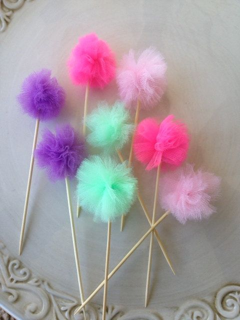 Pom Pom Cupcake Toppers set of 8 for Birthday Party by JeanKnee, $5.00