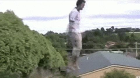 kid jumping unexpected trampoline