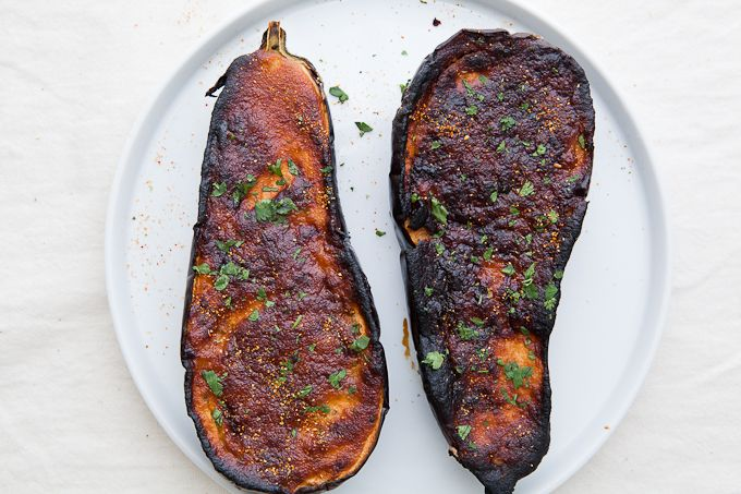 Roasted eggplant with miso lime dressing (maybe without the miso)
