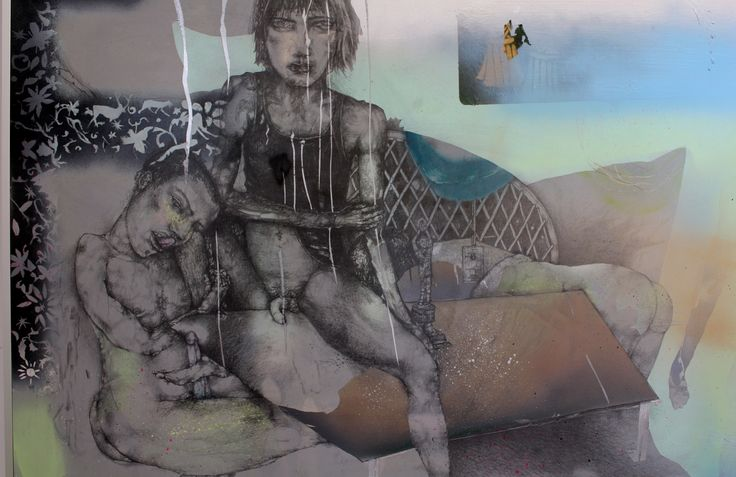 Drawing by Antony Muia, Sicilian Boys, 2007, Mixed Media on Board 56x82cm Private Collection