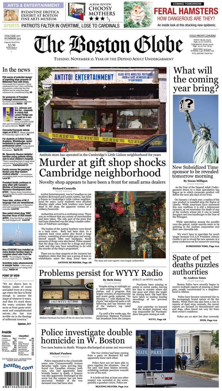 Prima pagina del @The Boston Globe nell'Anno del Pannolone per Adulti Depend... #InfiniteJest #DFW