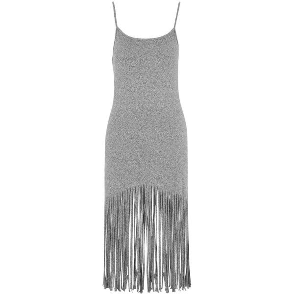 TopShop Petite Fringe Midi Dress (2,330 INR) ❤ liked on Polyvore featuring dresses, vestidos, grey marl, petite maxi dress, gray dress, petite dresses, fringe hem dress and midi dress