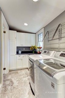 Many designers say the best location for a laundry room is off the kitchen in its own room. Where would you prefer to put the laundry room?   Leichty Builders