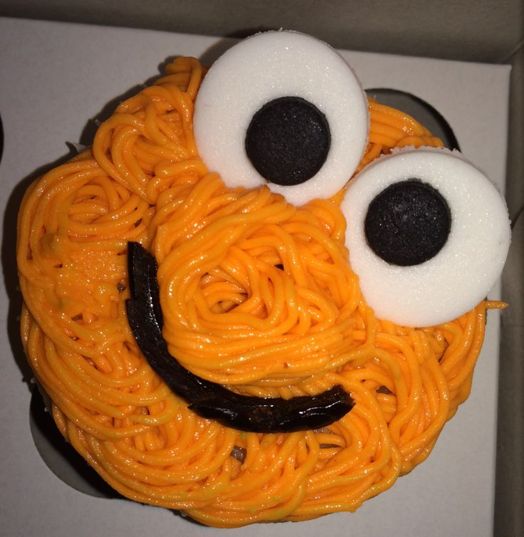 Orange monster cupcake