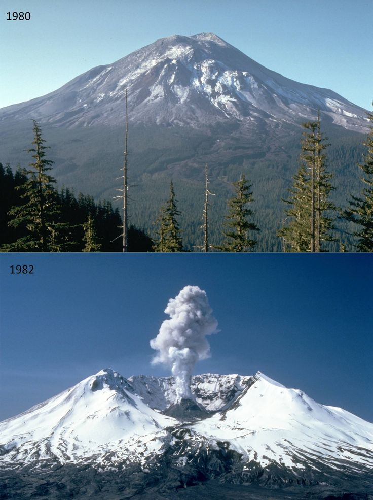 Mount St. Helens volcano before and after eruption.