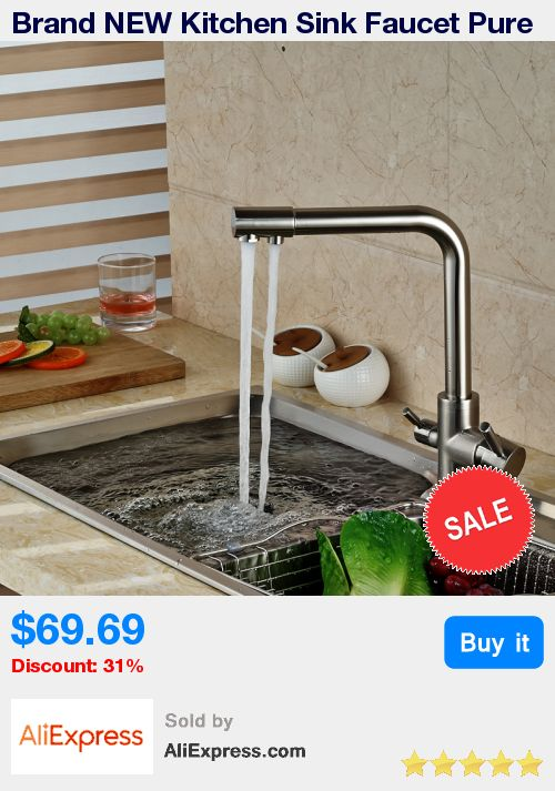 Brand NEW Kitchen Sink Faucet Pure Water Filter Drink Mixer Tap Dual Handles Two Spout Brushed Nickel Finish * Pub Date: 10:10 Apr 16 2017
