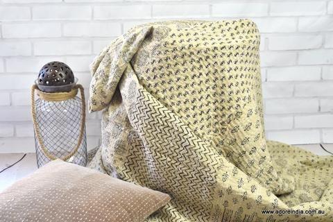 Natural Hand Block Patchwork Kantha Quilt