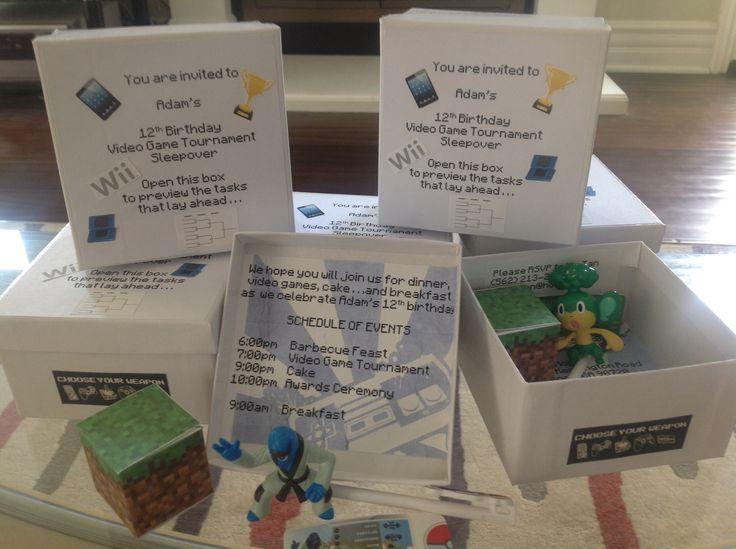 Video Game Tournament Party Invitation Minecraft Pokemon