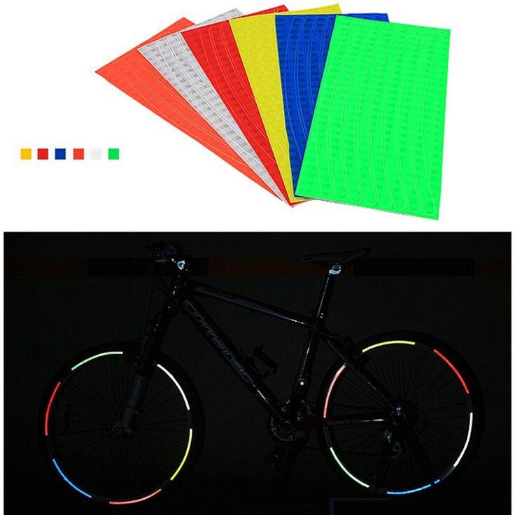6ชิ้นจักรยานล้อยางเรืองแสงสะท้อนสติกเกอร์สะท้อนแสงริมรูปลอกเทปการรักษาความปลอดภัยPegatinas Bicicletas