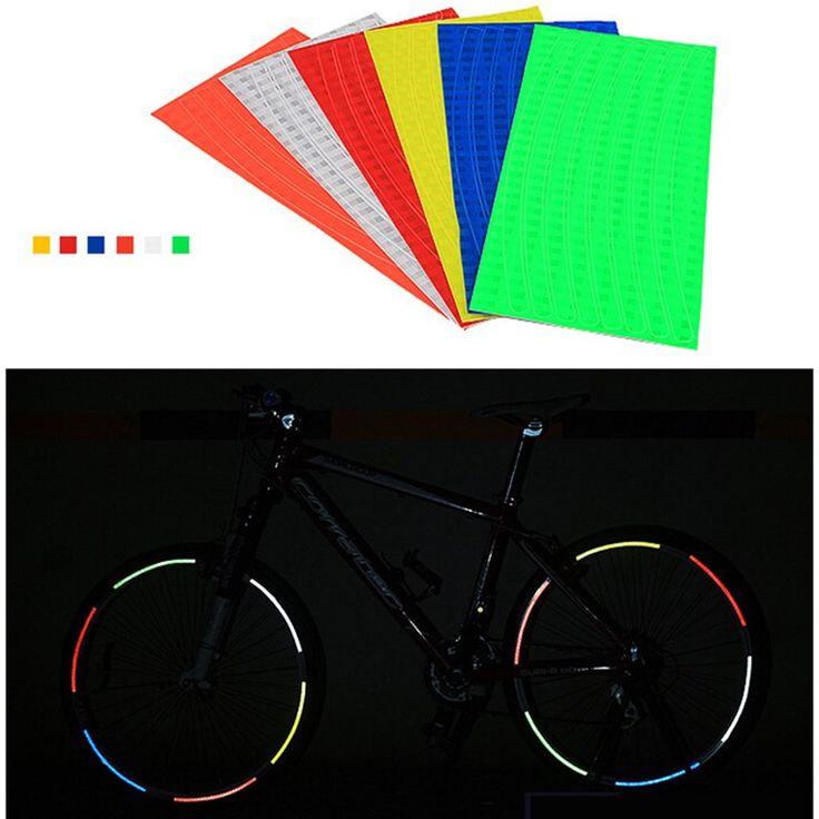 6 Unids Bicicleta Neumático de la Rueda Decal Cinta Reflectora Fluorescentes Pegatinas Reflexivas del Borde Pegatinas Bicicletas de Seguridad