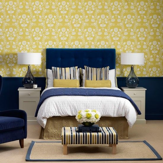 Inspirational Navy Blue and Yellow Decor