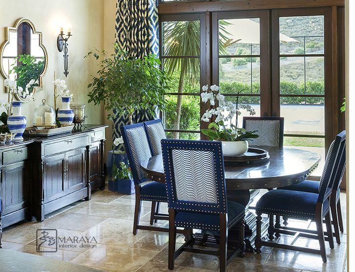 Maraya Interiors Blue Spanish Kitchen Dining Area With Moroccan