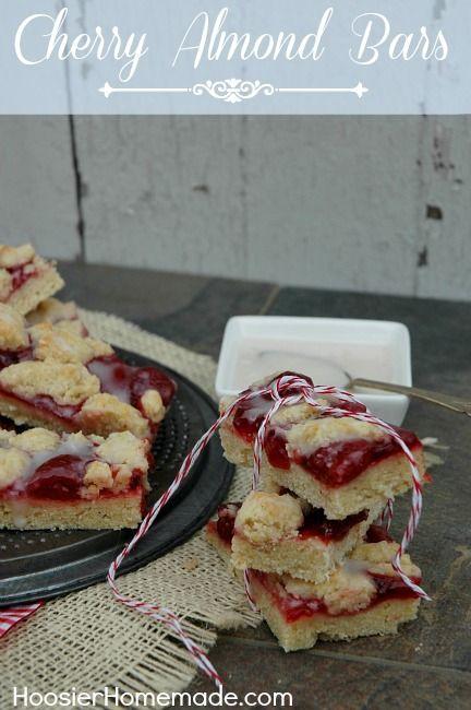 Cherry Almond Bars Recipe :: HoosierHomemade.com