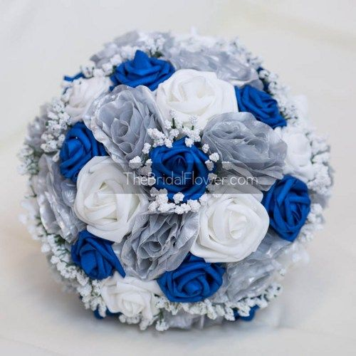 """""""Royally Blue"""" style wedding bouquet  Large and grand bouquet with silver and royal blue colors! Perfect for any royal blue wedding accented with silver. Such an elegant combination! Made with our sig"""