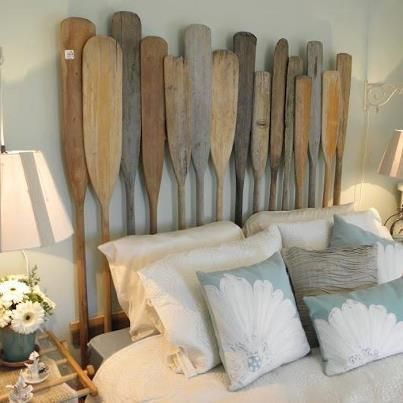 Recycled Boat Oar headboard.  Too bad people want a fortune for their old oars!!