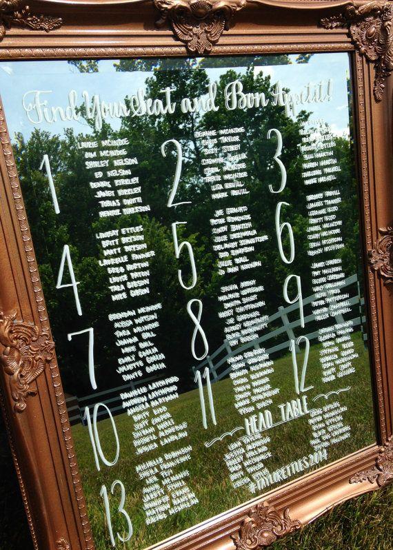Wedding seating chart written on mirror