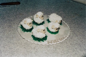 Sheep made out of marzipan and decorated with royal icing