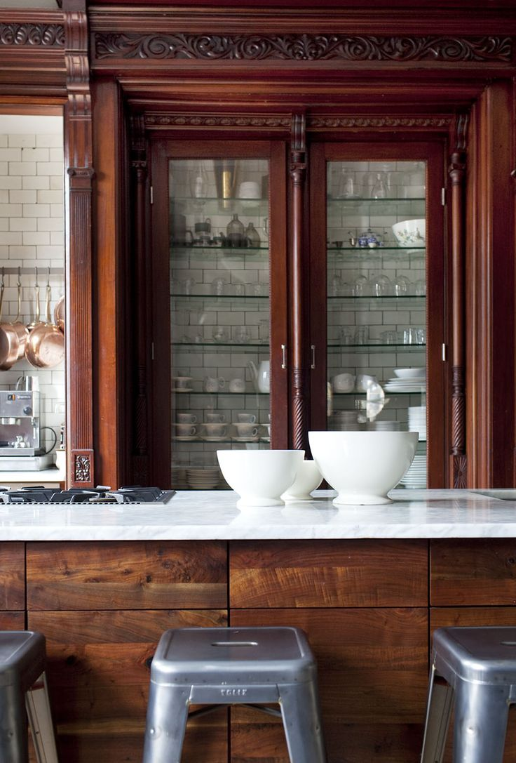 Promising Prospects in an Urban Renovation // Kitchen: White Tile, Subway Tile, Woods Tile, Woods Cabinets, Urban Renovation, Parks Townhouse, Glasses Doors, White Countertops, Kitchens Cabinets