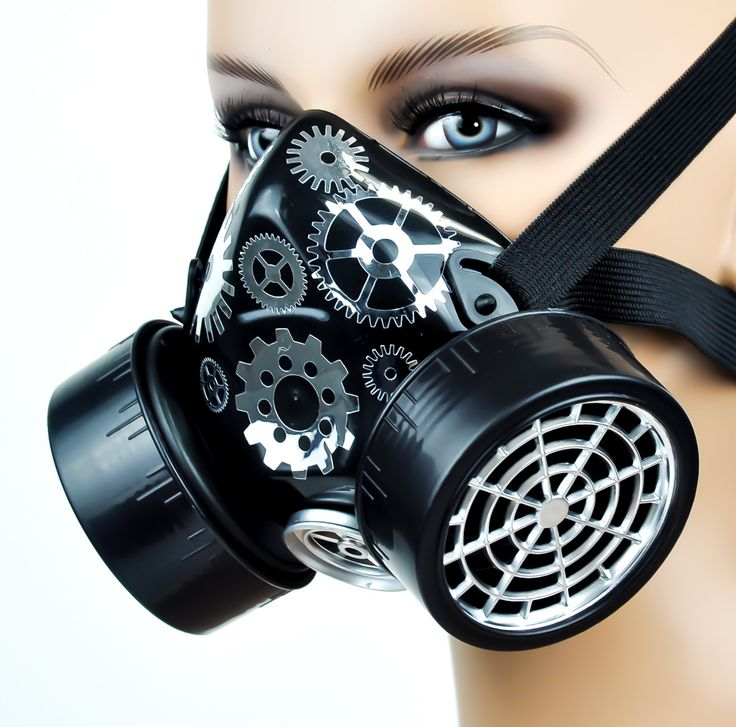 Silver Cogs / Gears Cosplay Respirator Gas Mask Cyber Goth