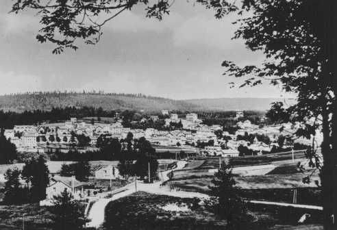 View of Le Chambon, where most of the village's Protestant population hid Jews from the Nazis. Le Chambon-sur-Lignon, France, date uncertain.