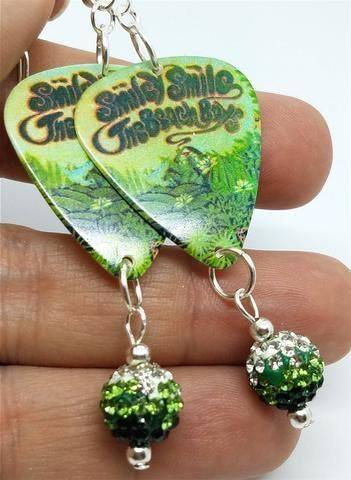 The Beach Boys Smiley Smile Guitar Guitar Pick Earrings with Green Ombre Pave Beads