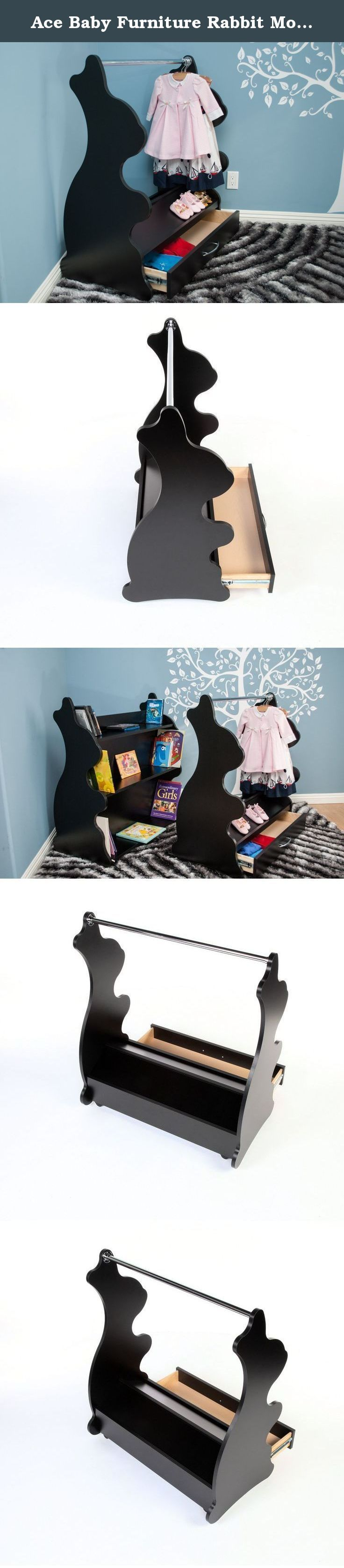 Ace Baby Furniture Rabbit Mobile Dress-Up Clothes and Shoe Organizer, Black. A mobile closet stand that you will cherish for years with your child! Versatile, functional, yet whimsically designed to fit your chic home decor. Perfect for keeping your child's wardrobe neat and tidy. A sturdy chrome-finished clothes rod offer sample.