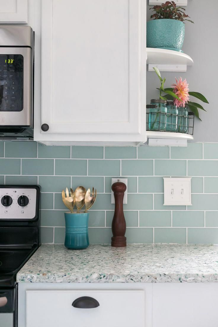 I Can T Believe That This Coastal Kitchen Was A Complete Diy Love The Beautiful Terrazzo Coastal Kitchen Design Blue Kitchen Designs Trendy Kitchen Backsplash Coastal kitchen backsplash ideas