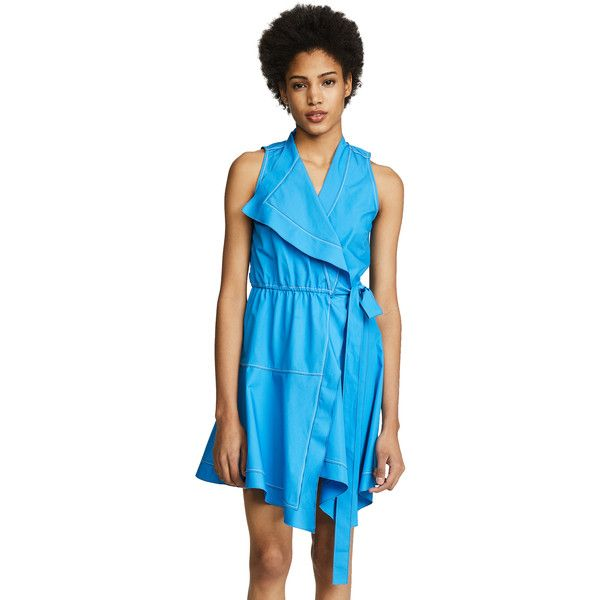Derek Lam 10 Crosby Wrap Dress (10 745 UAH) ❤ liked on Polyvore featuring dresses, azure, short wrap dress, v neck wrap dress, v neckline dress, v neck sleeveless dress and sleeveless wrap dress