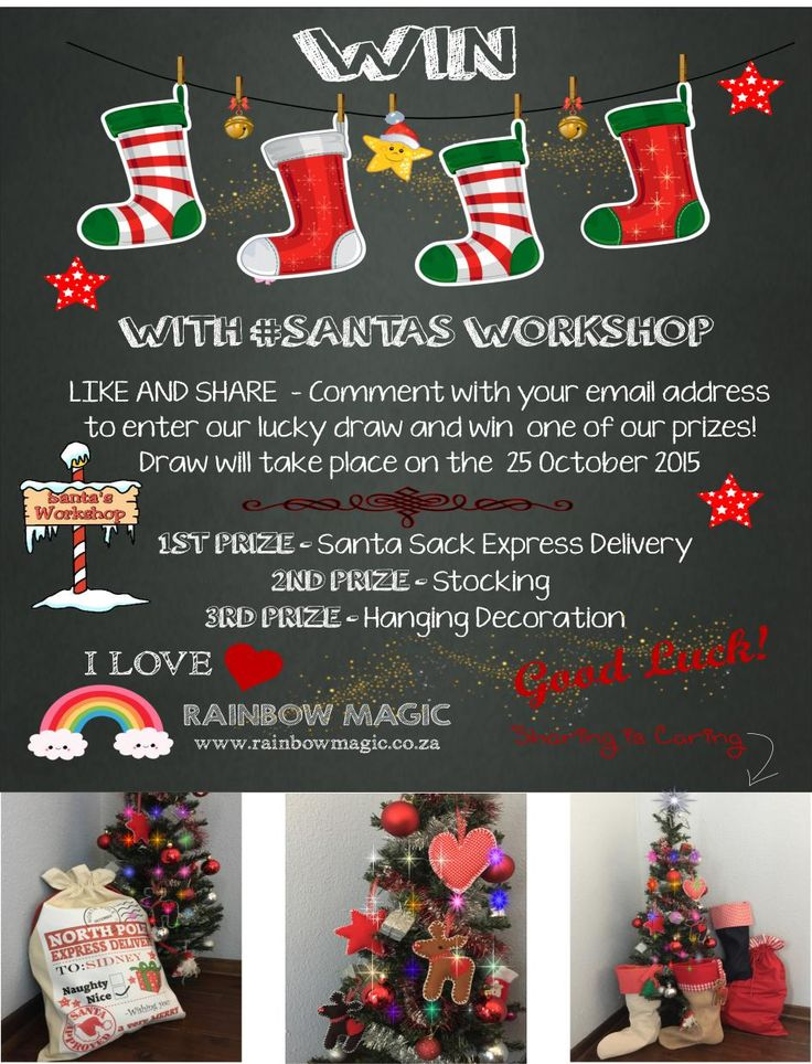 NEW Competition! WIN a Personalised Santa Sack and more from #SantasWorkshop. Like, Share and Comment with your email address to enter. Draw will take place on the 25 October 2015! Good Luck!
