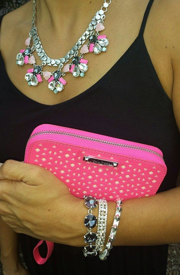 Callie necklace. black Amelie Sparkle Bracelet layered with silver Arrison Stretch and Silver Pyramid Stud Cuff. don't forget about the chelsea tech wallet in Glow Pink Perf! Www.stelladot.com/laurenweber