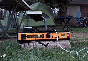 Camp with it This portable battery pack holds 250 watt hours of power, which is enough power for you to run anything from camping lights, small fans, radios, or even a television.  We aren't exactly saying you should bring a TV every time you go camping, but you could!  Now you can see how versatile this battery pack truly is.  There simply is no other battery back with this capability.