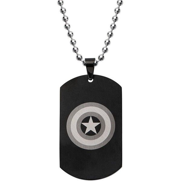 Stainless Steel Captain America Dog Tag Necklace (£58) ❤ liked on Polyvore featuring men's fashion, men's jewelry, men's necklaces, necklaces, jewelry, grey, mens chain necklace, mens stainless steel necklace, mens chains and mens necklaces
