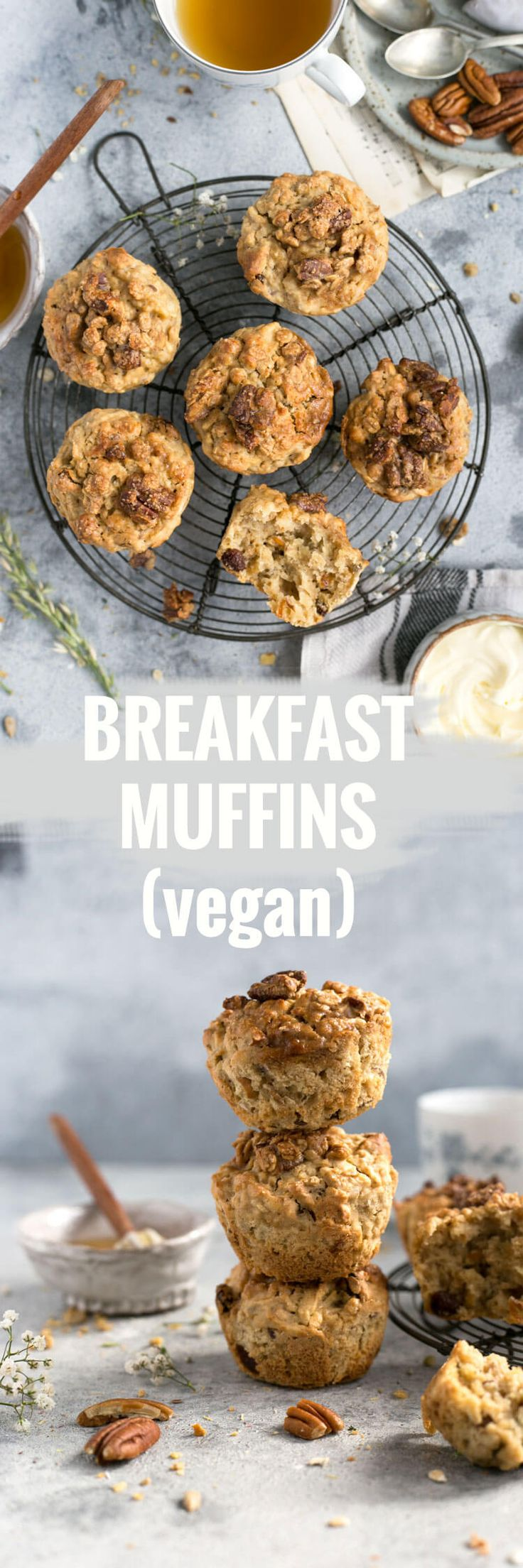 Easy and delicious breakfast muffins with crunchy pecan topping | via @annabanana.co via @annabananaco