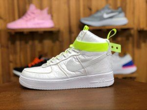 Mens Nike Air Force 1 High 07 VIP Magic Stick Silver white fluorescent  yellow 573967-101 Running Shoes 016b72cd202b