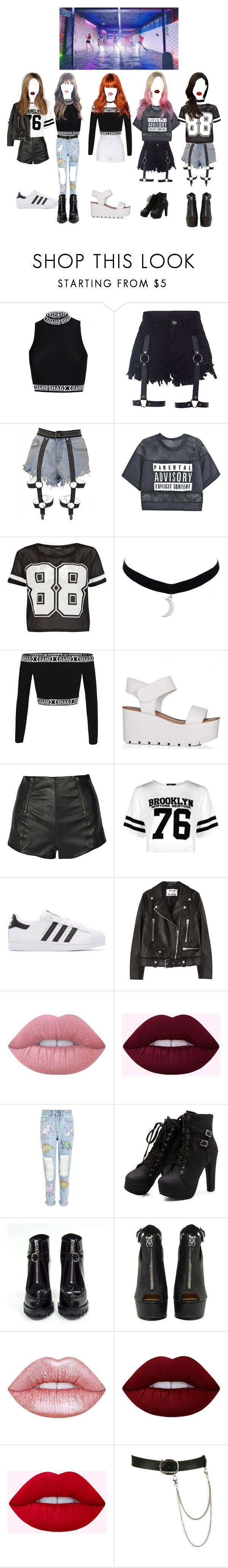 """Touch -  TOXIC GIRLS   DANCE"" by official-toxicgrils ❤ liked on Polyvore featuring River Island, McQ by Alexander McQueen, Boohoo, adidas Originals, Acne Studios, Lime Crime, Topshop, Prada, Shoe Cult and Wet Seal"