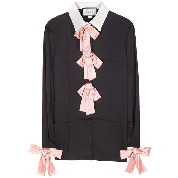 Gucci Silk Shirt (5.520 RON) ❤ liked on Polyvore featuring tops, black, gucci tops, gucci shirts, silk shirt, silk top and shirt tops