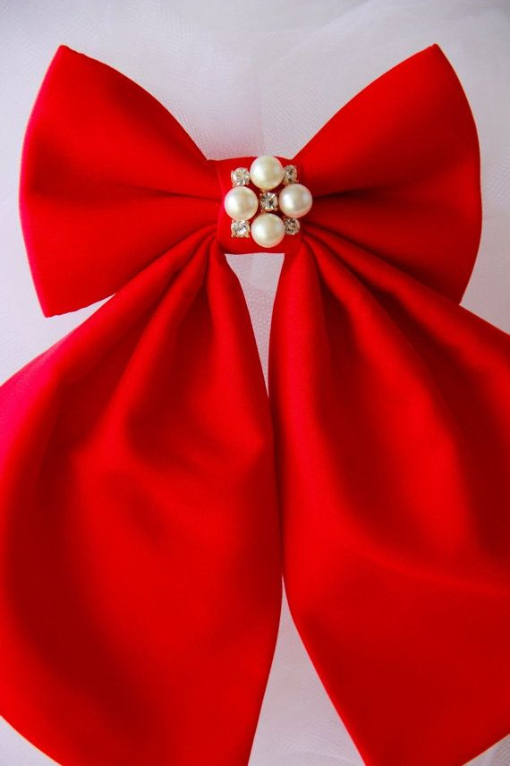 Red Cherry Matte Silk Women's Bow Tie Genuine by #BowsByVaniaSzasz #Etsy #details #handmade