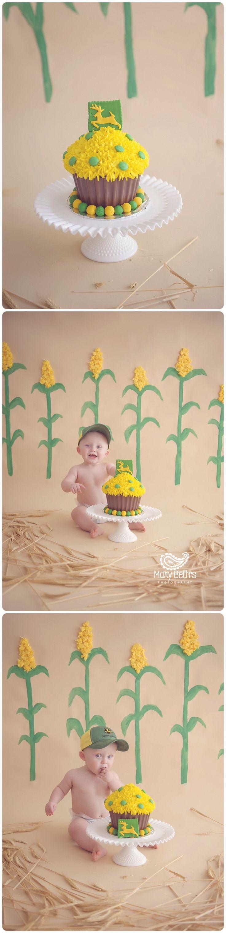 Samuel's John Deere 1st Birthday and Cake Smash Portraits for Mary Beth's Photography in Augusta, GA | Augusta GA Newborn Photographer, Augusta GA Family Photography #1stbirthday #cakesmash #customphotographysets #augustaga #johndeere