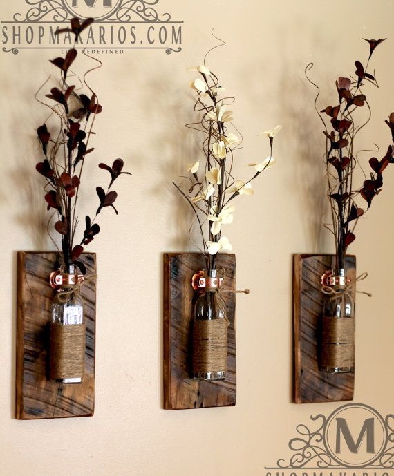 Rustic Wall Sconce.Mason Jar Sconce.Wood Wall by MakariosDecor