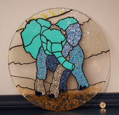 Stain-glass elephant made from clear beads melted in a cake pan (linked to instructions w/ more pictures)