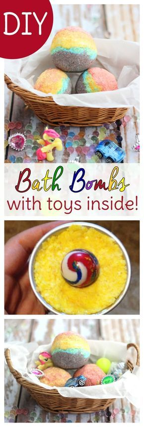 These homemade rainbow bath bombs for kids to make have toy surprises inside! Inspired by a homemade Lush bath bombs recipe, these relaxing bath bombs for kids use essential oils to help kids calm down before bedtime. These are easy homemade bath bombs kids will enjoy creating with you! via @sweettmakes3